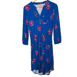 Lilly Pulitzer floral blue dress long sleeve XS